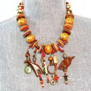 Jewelry - African Safari Wooden Elephant Giraffe Necklace